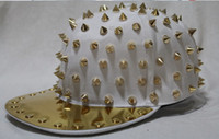 Wholesale Hedgehog Spiked Hats - Men Sjnapback Hat Hedgehog Punk Style Hiphop Rivet Cap Metal Plate Baseball Cap Men Gold Rivet Cap Unisex Gold Spike Studs Hat