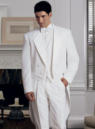 Men S Long Wedding Suit Australia - cheap wedding tuxedos groom wear long tail white custom made suits men 2017 dress fashion suit