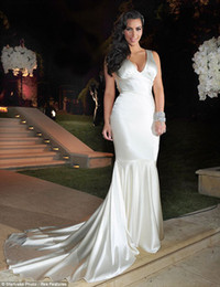 Wholesale Shiny Elastic - 2016 New Arrival V-Neck Kim Kardashian Mermaid Trumpet Wedding Dresses Cathedral Train Dresses Shiny Bridal Gowns