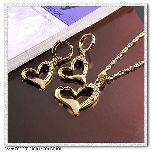 (S14K-19)14k gold plated heart shape jewelry sets, Free shipping