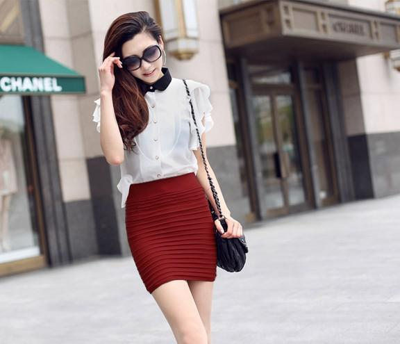 2017 Dark Red Color Girl Women Lady Mini Skirt Slim Fit Seamless ...