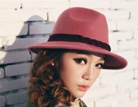 Wholesale Wholesale Woman Dress Wool Hats - fashion women wool dress hats Womens caps top hat Stingy Brim hat #2797
