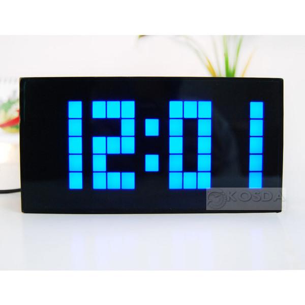 Gran Jumbo Multifuncional Digital Moda Mordem Reloj LED ajustable Brillo Pantalla Calendario de pared Mundo Snooze Reloj Relojes