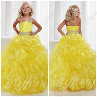 Wholesale Girls Bright Pink Dresses - Girls Pageant Gowns 2015 Hot Sale Bright Yellow One Shoulder Junior Size Pageant Gown Ruffled Skirt One Shoulder Pageant Dress OX556