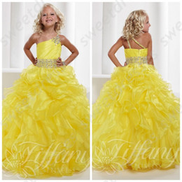 Wholesale One Size Girls Dresses - Girls Pageant Gowns 2015 Hot Sale Bright Yellow One Shoulder Junior Size Pageant Gown Ruffled Skirt One Shoulder Pageant Dress OX556