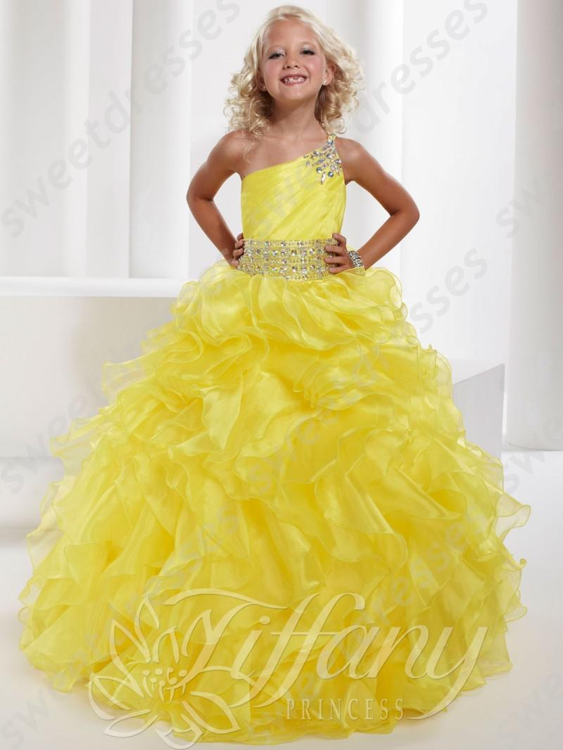 Girls Pageant Gowns 2015 Hot Sale Bright Yellow One Shoulder Junior