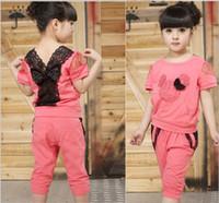 Wholesale Wholesale Sports Suits - Children Clothing Girl Clothing Set Kids Clothes Set Suit Sport Short-sleeved pants suit 5 p l