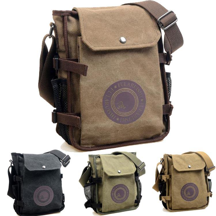 Casual Vintage Men'S Canvas Shoulder Bag Solid Versatile Zipper ...