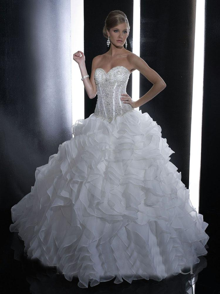 2013 Gorgeous Cinderella Pleated Fishbone Ball Gown Wedding