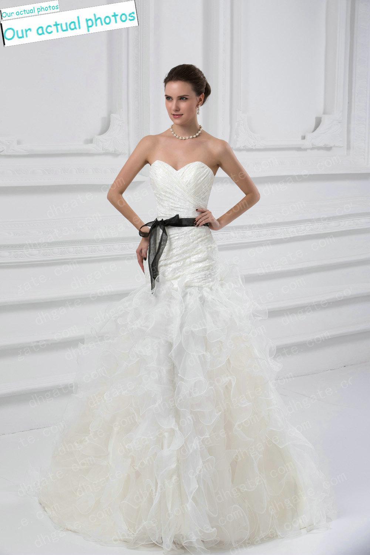 White wedding dresses with black bow