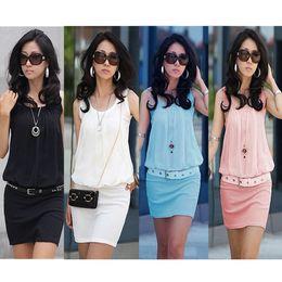 Wholesale New Sundresses - New !! 2013 Summer Women's Mini Dress Crew Neck Chiffon Sleeveless Causal Tunic Sundress 4 colors