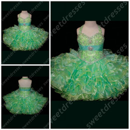 Wholesale Mini Skirt Halter - 2015 girls pageant dresses size halter mini-length Little Kids Birthday Dress Little Rosie ruffled skirt green Pageant Dress zahy820