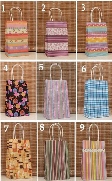 50Pcs /Lot Shopping Bags Polka dot kraft paper bag & Festival gift package, Fashionable gift paper bag, 21X13X8cm