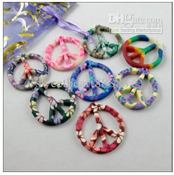 Mixed Polymer Fimo Clay Peace Sign Charms Pendants Hot 70pcs/lot 29x31mm Jewelry Findings & Components DIY