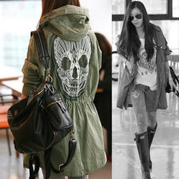 Wholesale Womens Long Military Coat - New Fashion Womens Ladies Spring Autumn Back Skull Military Outwear Anorak Parka Hooded Trench Coat Tops Coats Free Shipping