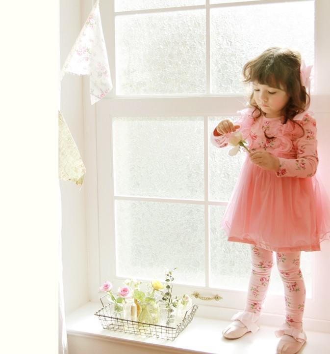 2013 Spring Style Girls Dresses Floral Pastoral Princess Gauze Dresses Children's Clothing