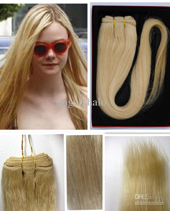 22inch 613 100 Human Hair Extension Bleach Blonde Clip In Hair