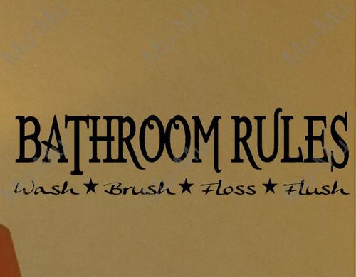 Bathroom Rules Decal Wall Vinyl Sticker Letter Words
