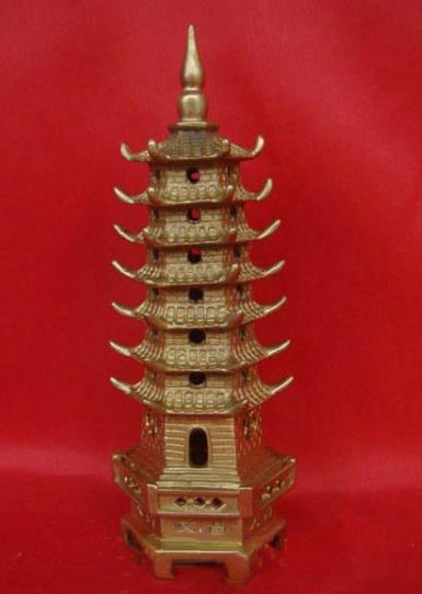 Estatuilla de la torre de la religión de la pagoda de bronce chino 7-Tier6.5