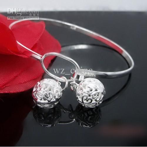 Children Girl Indian Bangles Hollow Out Ball 925 Sterling Silver/White Gold Plating Women Bangle bracelet Wedding Jewelry