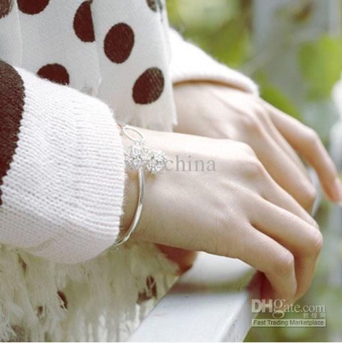 Crianças Menina Pulseira Indiana Oco Out Bola de Prata Esterlina 925 / Branco Chapeamento de Ouro Mulheres Pulseira pulseira de Jóias de Casamento