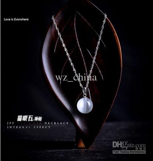 Silver Opal pingente colar redondo pedra natural moda boêmio 925 esterlina prata pingente colar para mulheres com cadeia de água Novo
