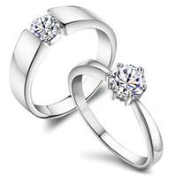 sterling silber gut für ringe großhandel-Ehering 925 Sterling Silber Frauen Ringe Mit Großen Guten Kristall Für Paare Mode Neue Ankunft Böhmischen Schmucksachen Freies Verschiffen