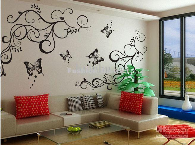 Butterfly Vine Decoration Flower Vinly Wall Art Sticker