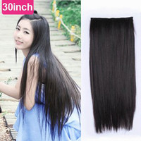 Wholesale Extension Dark Brown Long - super long 30inch 24inch synthetic 5 clip-in hair extension black light brown dark brown for full head