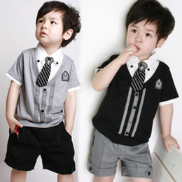 Wholesale Wholesale Fake Clothing - Boys gentleman necktie fake 2piece short sleeve top+short pant boys summer clothes wear boys outfit