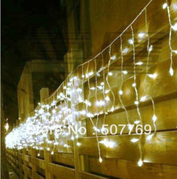 Wholesale Green Icicle Christmas Lights - 10*0.65M 378LEDs lights flashing LED String Icicle lamps curtain Christmas home garden festival