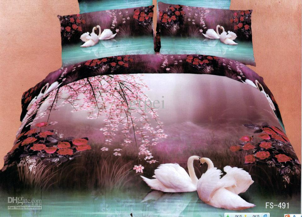 3d Purple Blue Swan Floral Comforter Bedding Set Sets