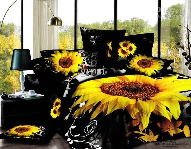 3d Black Sunflower Flower Floral Bedding Comforter Set Sets Queen