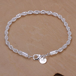 Wholesale Bead Square - wedding women lady best Quality Charm silver plated fashion Square Noble Rope chain Bracelet jewelry H207