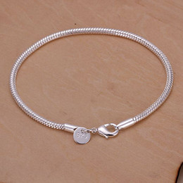 Wholesale 3mm Silver Chain European - best Quality Charm silver plated fashion Square Noble 3MM snake chain Bracelet jewelry H187