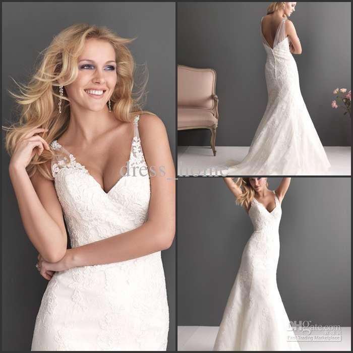 Discount Luxury Style A Line Spaghetti Straps Wedding Dresses White Lace Low Back Bridal Gowns Design Plus Size From Dress Home