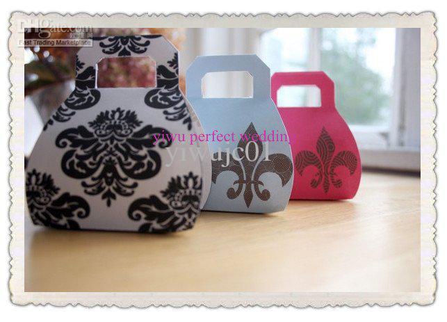 Damask Pattern Mini Handbag Wedding Favor BoxesCandy Box Xy 00f