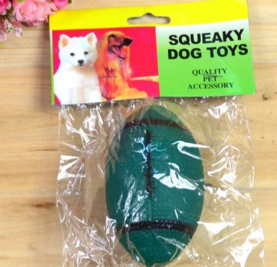 Frete grátis pet dog vinyl squeaker brinquedo de futebol rugby projeto 20 pçs / lote