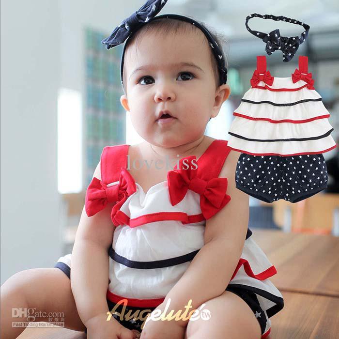 Bebê Bowknot Acessórios Para o Cabelo Meninas Regatas Infantis Shorts Casuais Crianças Set Crianças Terno Outfits