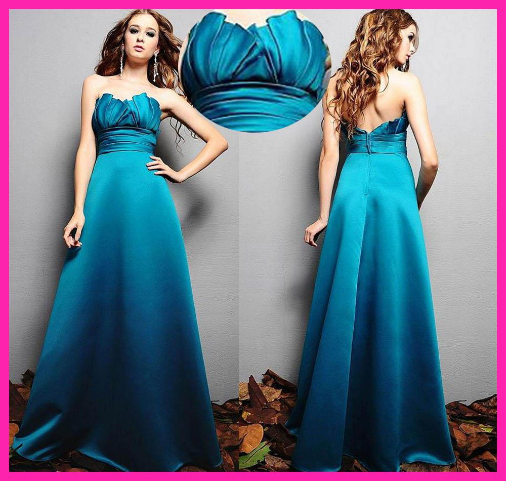 Turquoise strapless a line long satin bridesmaid dresses wedding see larger image ombrellifo Image collections