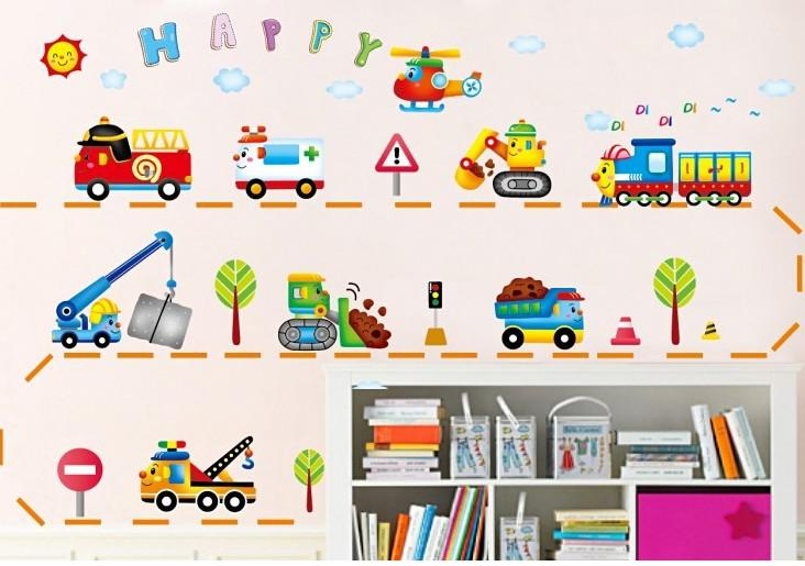 Superb Cartoon Car Wall Stickers / Car / Crane / Bulldozer / Children U0027S Room /  Nursery / 2013 New Xy Mural Decals Mural Sticker From Luckyboy2011, $12.07|  Dhgate. Part 11