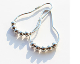 Wholesale Polished Nickel Curtain Rings - High Quality 12 Pcs Shower Curtain Ring Metal Polished Satin Nickel Ball Shower Curtain Rings 5 Roller Balls Curtain Hooks