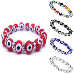 Wholesale evil eye glass beads bracelet - Turkey EVIL EYE PROTECTION KABBALAH MURANO GLASS BEAD STRETCH BRACELET CZ Unisex Bracelets 10mm
