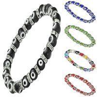 Wholesale Evil Eye Glass Bead - Turkey EVIL EYE MURANO GLASS BEAD STRETCH BRACELET CZ Unisex Bracelets 8mm 10 Colors Avaliable