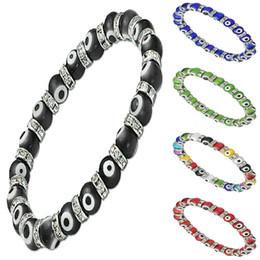Wholesale Stretch Glass Bracelets - Turkey EVIL EYE MURANO GLASS BEAD STRETCH BRACELET CZ Unisex Bracelets 8mm 10 Colors Avaliable
