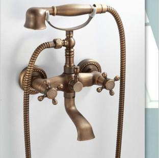 Bathroom Shower Set Antique Brass Tub Fauet With Shower Hand Telephone  Shower FREE BY FEDEX