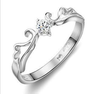 Nouveaux bagues de fiançailles pour Couple 925 Sterling Silver Love Couple Couple Bague de mariage avec cristal / Livraison gratuite