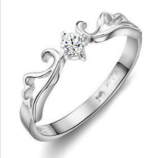 Novos anéis de noivado para casal 925 esterlina prata amor casal anel de casamento com cristal / lote frete grátis