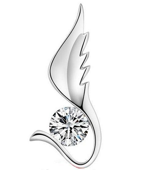 Collana in argento a sospensione dell'argento sterling delle donne dell'Antico delle ali lunghi dell'Antico delle ali dell'Antico della collana dell'argento 925 le ragazze / Trasporto libero