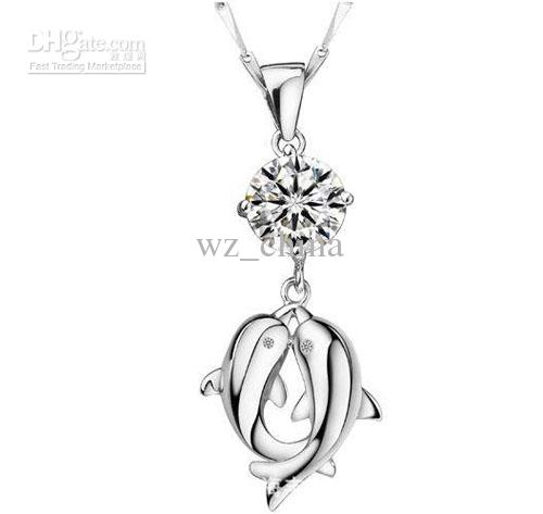 Collar colgante bohemio de las mujeres 925 Collar del colgante del delfín de plata esterlina con cristal / envío gratis estilo coreano caliente